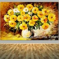 ציורי שמן על בד יד מצוירת פריחה פרח חרצית צהוב Abtract בסלון בית תפאורה קיר תמונות דייזי האפריקאי אמנות