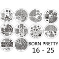 10pcs BORN PRETTY #BP16 - 25 Nail Art Stamping Template Image Stamp Plates Tool #17310