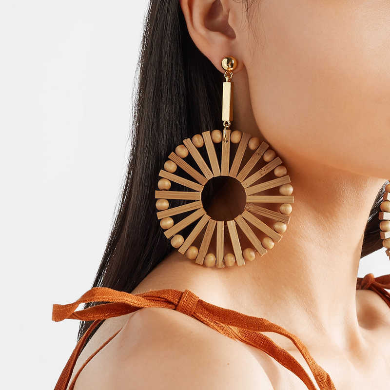 AENSOA Vintage Wooden Long Big Circle Round Earring Ethnic Fashion Geometric Handmade Semicircle Bamboo Drop Earring For Women