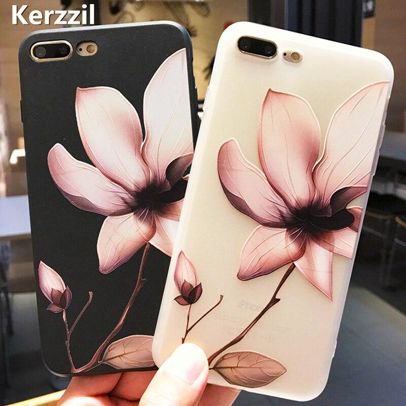 Kerzzil 3D Alívio Flor Casos Para iPhone X 10 TPU Soft Case Para iPhone 7 8 6 6 s Plus floral Capa Para iPhone 6 6 6 s Mais Funda