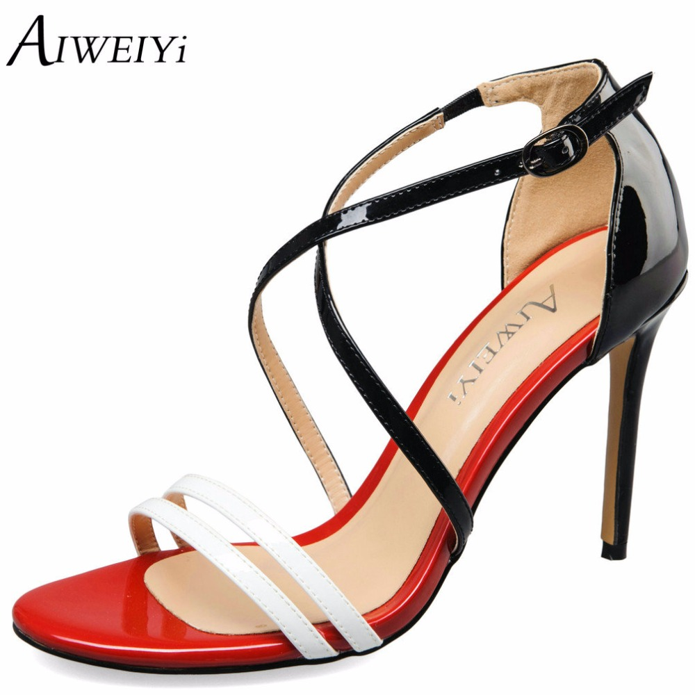 AIWEIYi Summer Sexy High Heels Sandal Shoes Women Brand Strap Mixed Colors Ladies Sandals Pumps Shoes Casual Shoes Woman