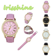 Irisshine #A012 Women watches Colorful Fashion Women lady girl Rhinestone Leather Band Quartz Wrist Watch