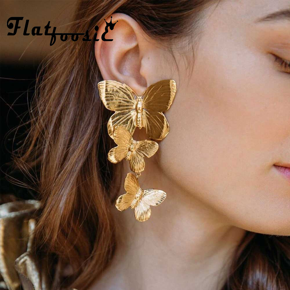 Flatfoosie Trendy New <font><b>2019</b></font> Bohemian Metal Big <font><b>Flower</b></font> Drop <font><b>Earrings</b></font> <font><b>for</b></font> <font><b>Women</b></font> Butterfly Pendant <font><b>Earring</b></font> <font><b>Statement</b></font> Jewelry Party image