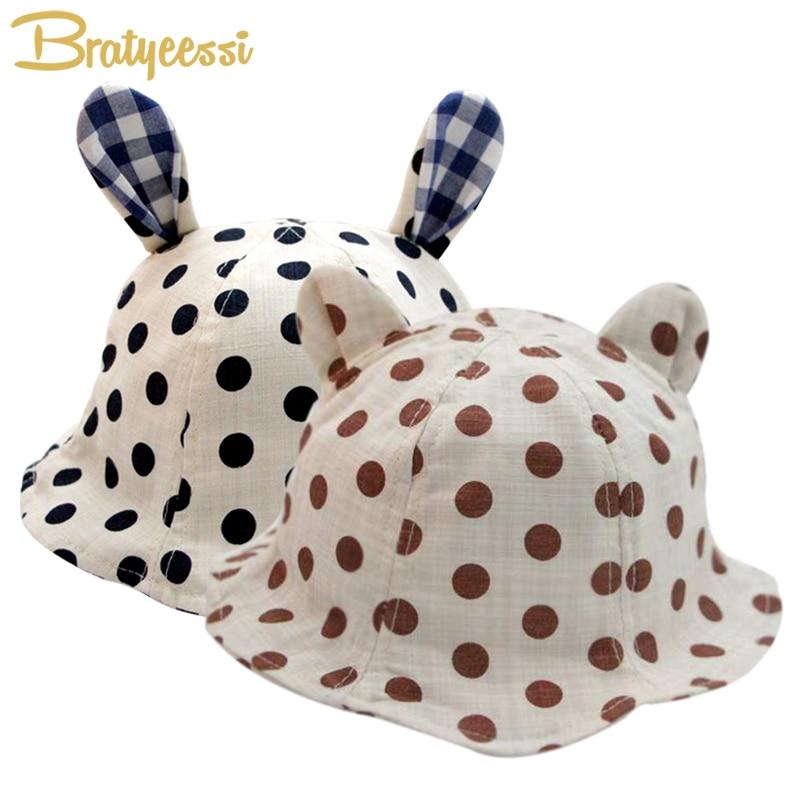 Nieuwe dot panama hoed baby katoen linnen zomer kinderen cap voor - Babykleding - Foto 1