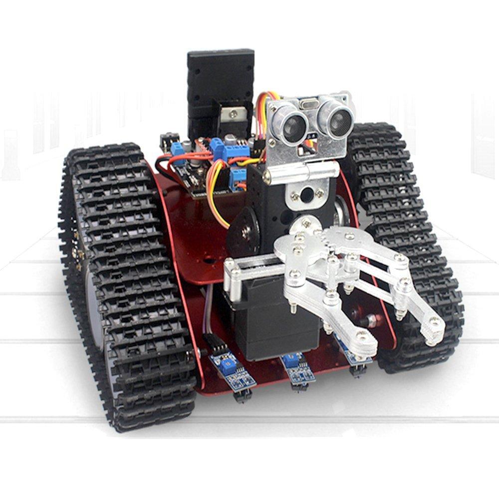 Carry RC Tank Track alumiiniseoksesta valmistettu ajoneuvon alusta RC RC-alusta, jossa on Bluetooth / IR-moduuli + 2 DC-moottoria + ohjauspaneeli