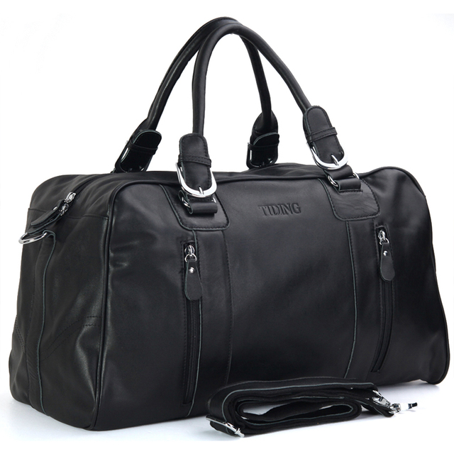 Tiding Brand New Duffle Bag Men Genuine Leather Travel Weekender Bags Casual Style Weekend Overnight