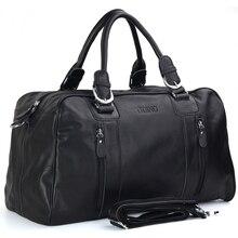 TIDING brand new duffle bag men genuine leather travel bag weekender bags casual style weekend overnight bag 1024