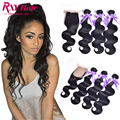 Indian Body Wave With Closure 4Pcs/Lot Silk Base Closure With Bundles 7A Indian Virgin Human Hair Bundles With Silk Base Closure