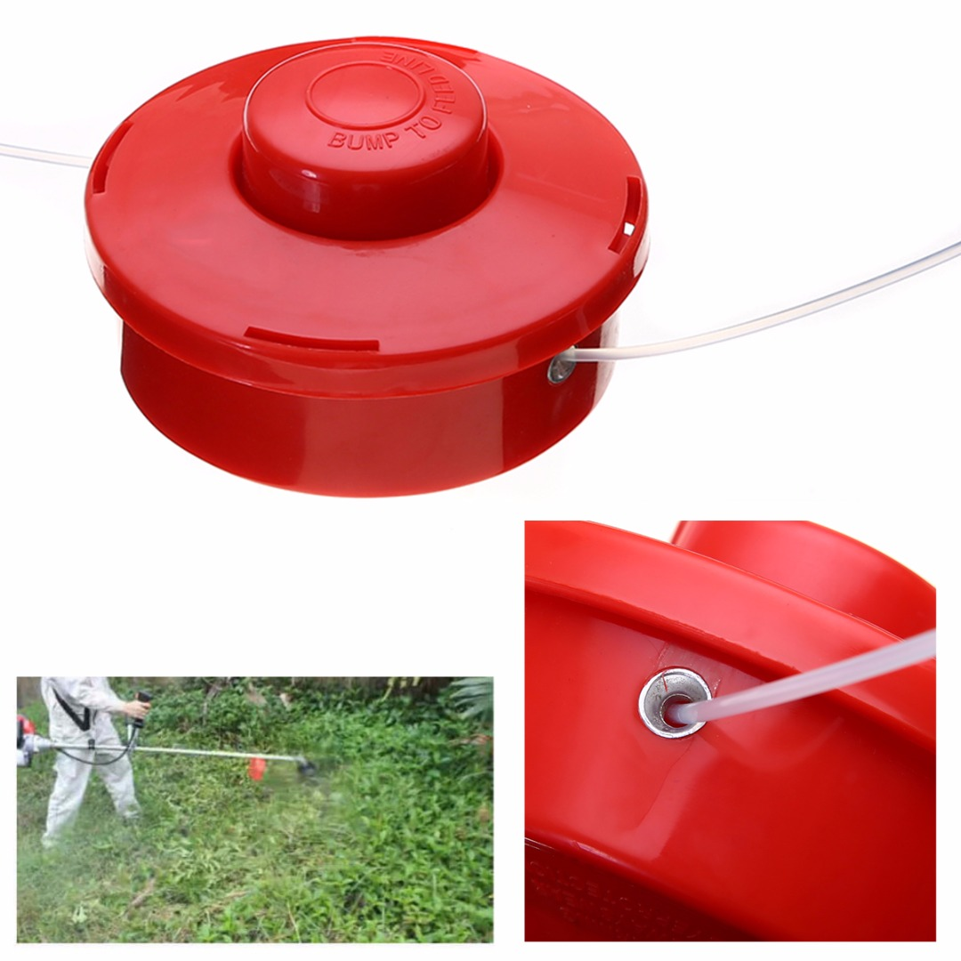 Durable Plastic Lawn Mower Grass Trimmer Head + 2.4mm Cut Red Rope For Brushcutter Strimmer Replacement Mayitr Garden Tools mayitr trimmer head petrol strimmer bump feed line spool brush cutter grass lawn mover parts garden tools