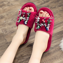 2018 Bling Women Autumn Faux Fur Home Shoes Plush Slipper Ladies Cotton Indoor House Slippers Woman Flat Shoes conymee women slippers 2018 spring autumn couples flat shoes casual sneakers for men women indoor home slipper soft pantufas