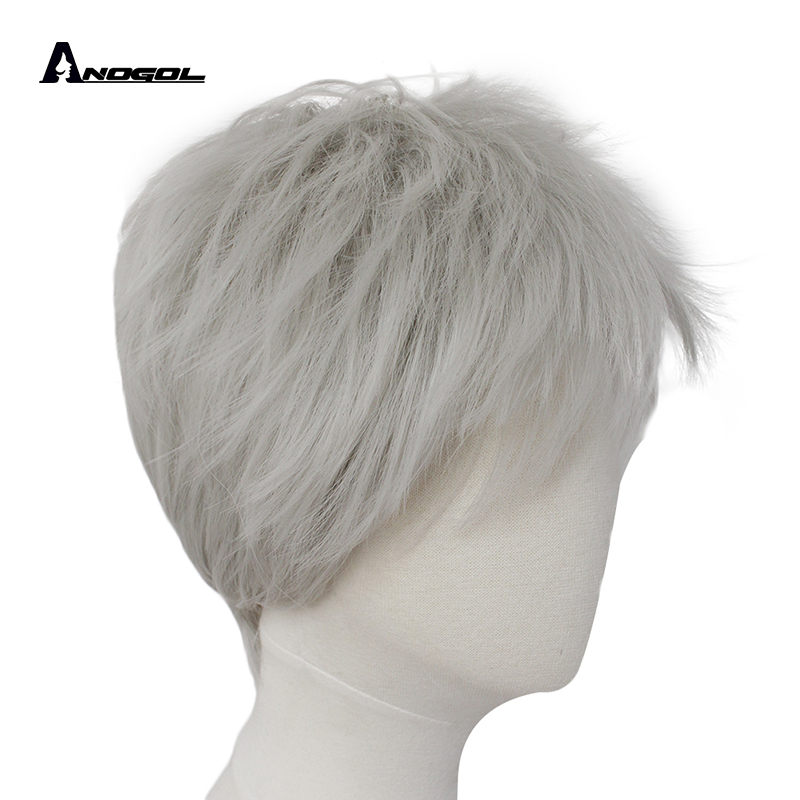 ANOGOL  Jack Frost Rise Of The Guardians Silver Grey High Temperature Fiber Synthetic Cosplay Wigs For Halloween Party Full Hair