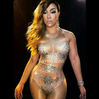 Nightclub Ds Singer Crystals Bodysuit Sexy Silver Rhinestones Costumes Women's One piece Dj Outfit High Forks Stage Costume
