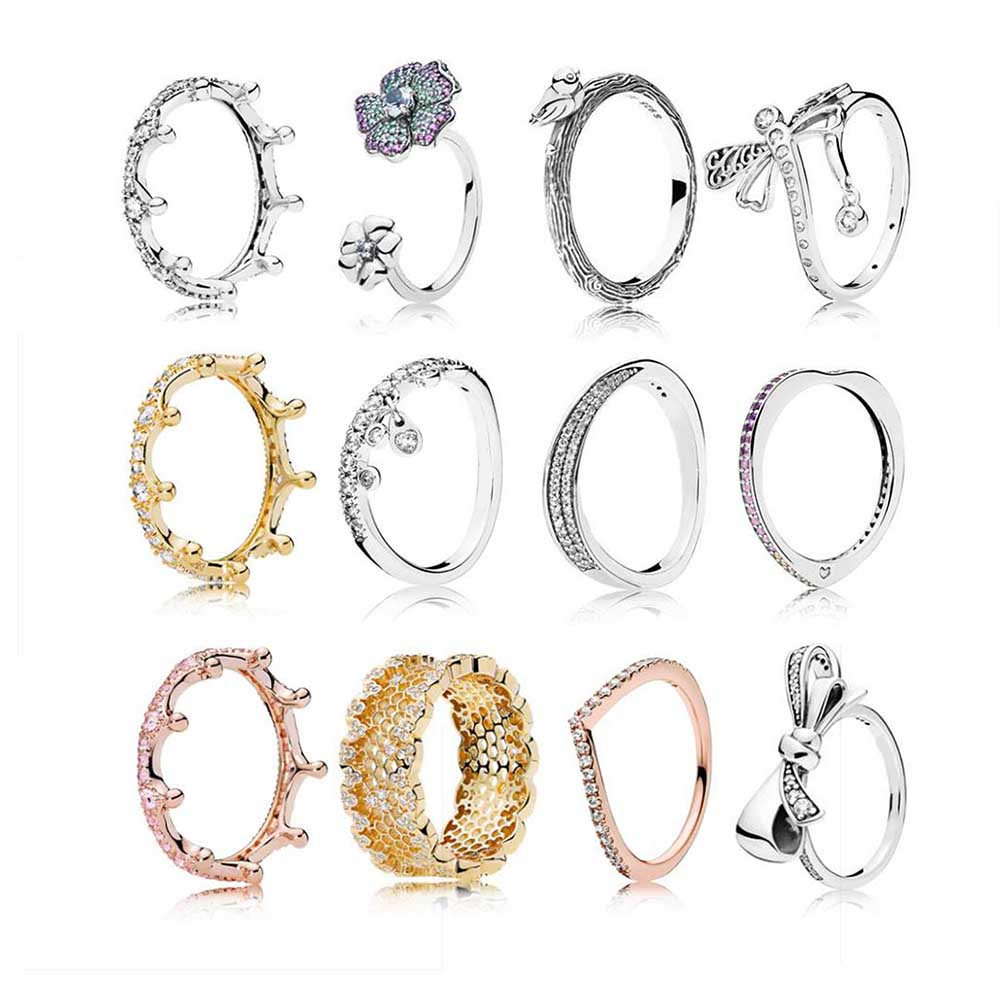 Real-925-Sterling-Silver Rings Band Jewelry Wedding-Ring-Set Engagement Fashion Women