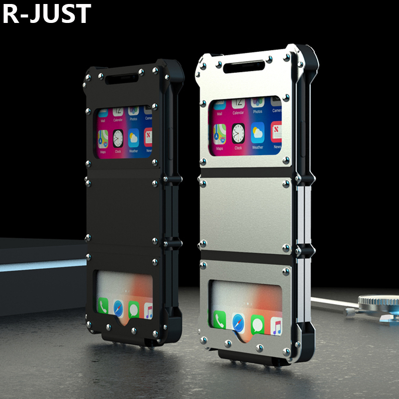 R-JUST For iPhone X Case Cover Luxury Cute Hard Metal Steel Shockproof Armor Flip Phone Case for iPhone 10 Back Cover Coque Capa