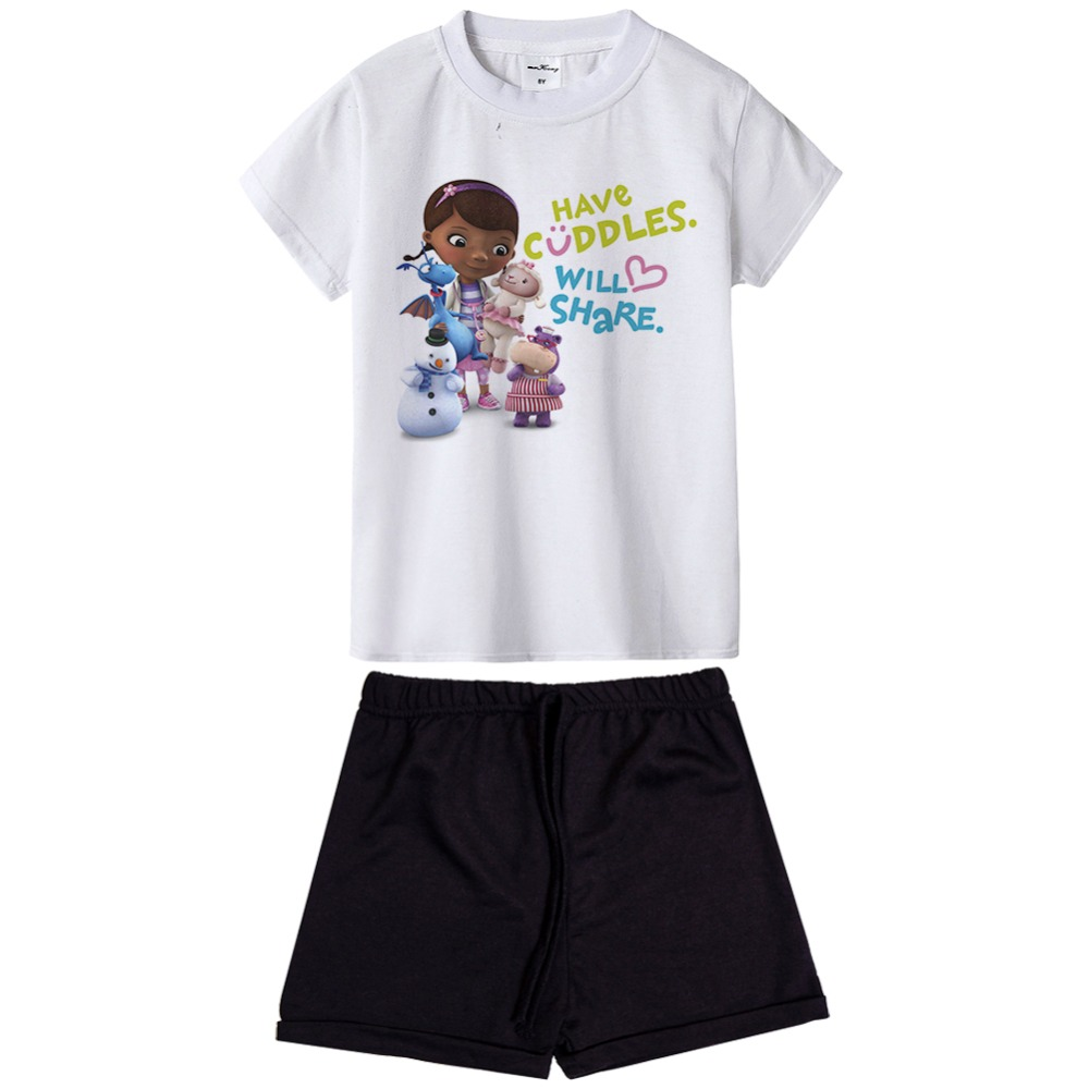 New arrival doc mcstuffins Summer Toddler Kids Baby Girls Clothes Sets Short sleeve cartoon printed T-shirt Tops+Shorts Outfits family fashion summer tops 2015 clothers short sleeve t shirt stripe navy style shirt clothes for mother dad and children