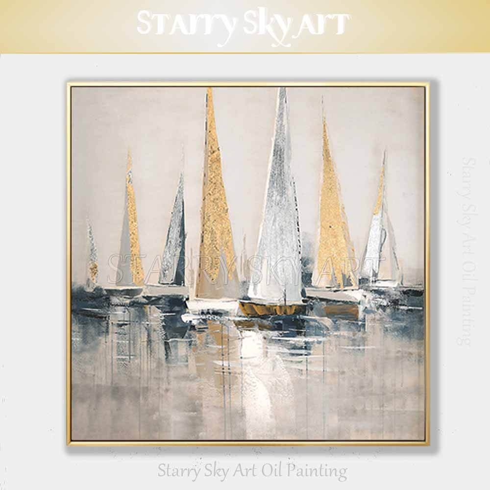 Skilled Artist Hand painted High Quality Golden Foil Abstract  Boats Oil Painting Wall Fine Art Abstract Landscape Boats  PaintingPainting