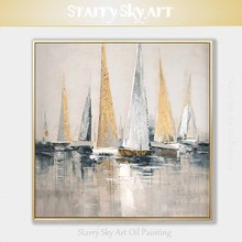 Skilled Artist Hand painted High Quality Golden Foil Abstract Boats Oil Painting Wall Fine Art Abstract Landscape Boats Painting