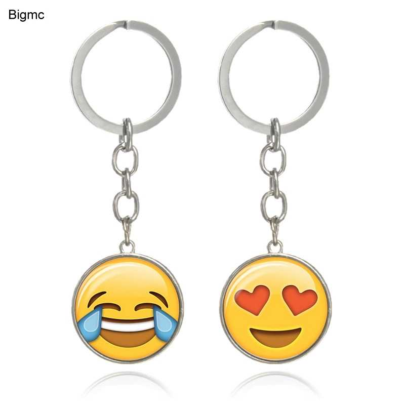New Fashion Lovely Emoji Emoticon Funny Keychains Keyrings Silver Color Double-side Glass Cabochon Key Ring Key Chains  K1723