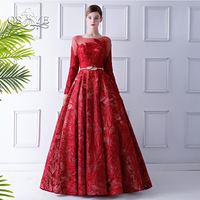 QSYYE 2018 Elegant Red Formal Evening Dresses Sexy V Back Long Sleeve Floor Length Lace Long Prom Dresses Robe de Soiree