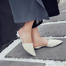 Chinese Wedding Shoes Flats Crystal Rhinestone Slippers 11 Sandals Pointy  Sequin Large Size Silver Mules Women e2e12f71926e