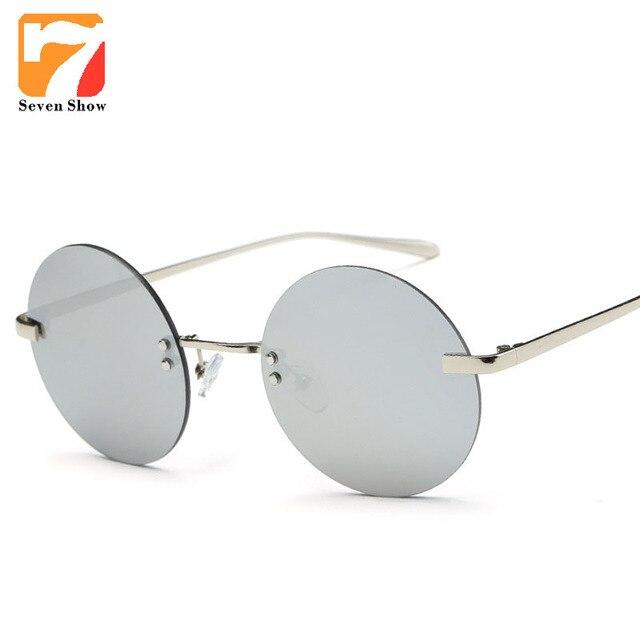 1f49f461f88b6 Rodada Sem Aro Óculos Mulheres Homens Marca Designer Óculos de Sol Do  Vintage Para O Sexo