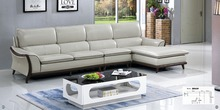 Cheers Barcelona Black and big white stitching l shaped modern design sectional soft cow leather sofa set living room furniture