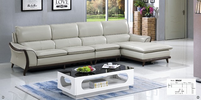 Cheers Barcelona Black and big white stitching l shaped modern design  sectional soft cow leather sofa set living room furniture-in Living Room  Sofas ...