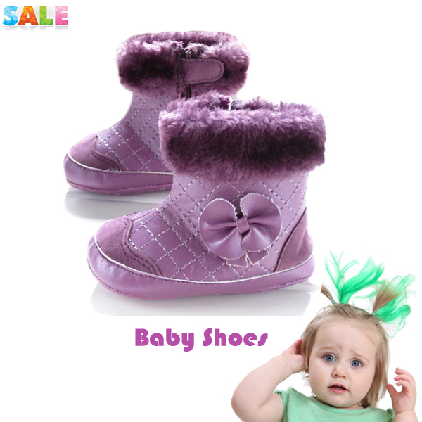 New fashion baby girls purple bowtie snow boots toddler shoes prewalker comfortable soft solo warm footwear free shipping