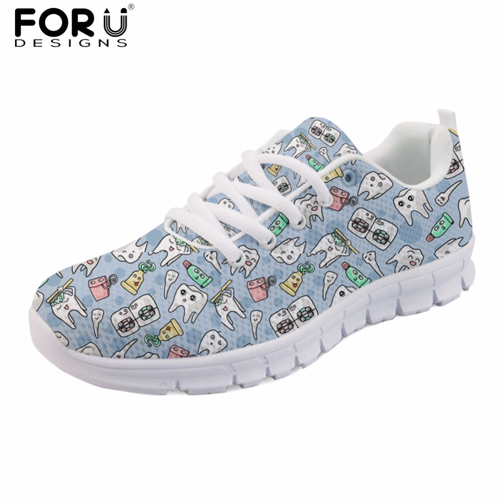 FORUDESIGNS Cute Dentist Pattern Flats Sneakers Women Cartoon Fashion Female Light Comfortable Walking Shoes Woman Dentista Mesh instantarts fashion women flats cute cartoon dental equipment pattern pink sneakers woman breathable comfortable mesh flat shoes