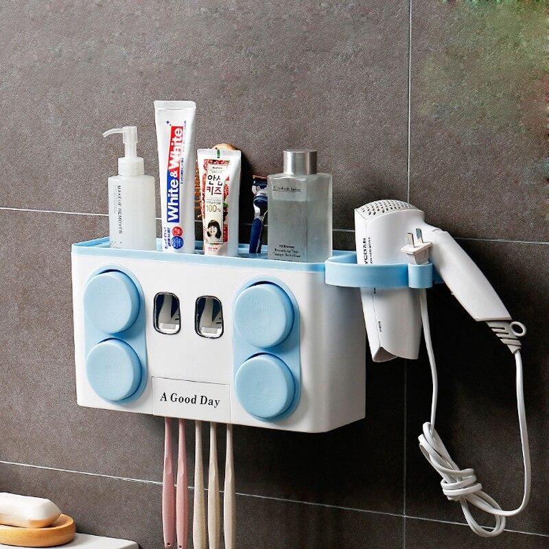 GOUGU Toothbrush Holder Toothpaste Squeezer Dispenser Cup Dryer Storage Rack Bathroom Accessories Sets Bathroom Storage Case