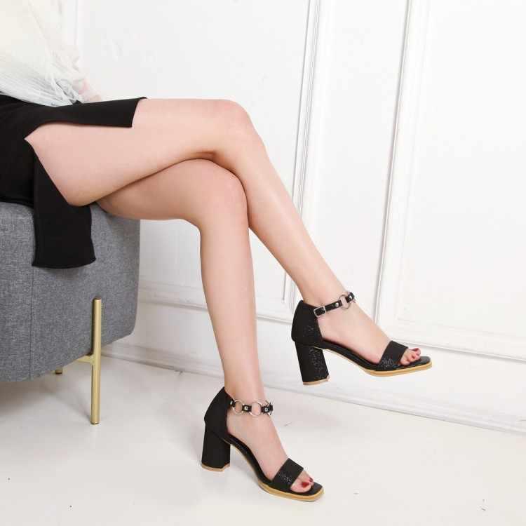 Büyük boy yüksek topuklu sandalet kadın ayakkabı kadın yaz bayan pullu yüksek topuklu sandalet ile kalın topuklu