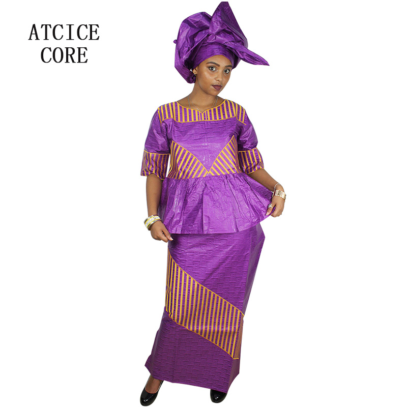 African Design Dresses Short Rapper With Scarf Plain Material Many Colos 100% Cotton Superior Materials