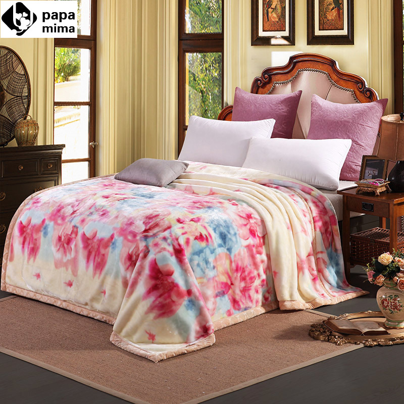 ФОТО Papa&Mima fashion floral print winter throw blankets raschel fiber plaids 180x220cm/200x230cm bedsheet multifunctional bedspread