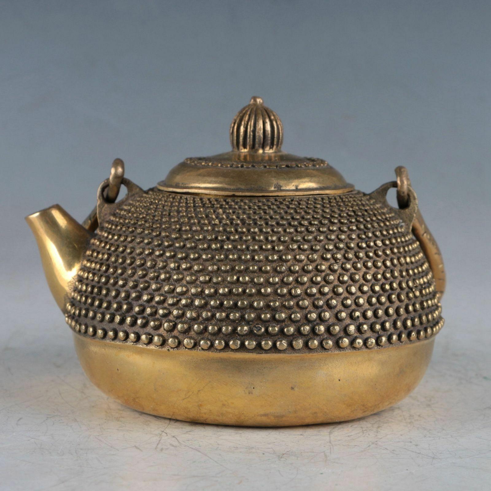 Old Chinese  handmade brass statue Eight Immortals teapot wine pot flagon
