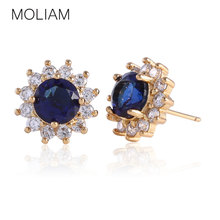 MOLIAM Amazing Earing for Womens Gold-Color Zirconia Stones Female Stud Earrings Charms Jewelry Brinco Earing Jewelry MLE300