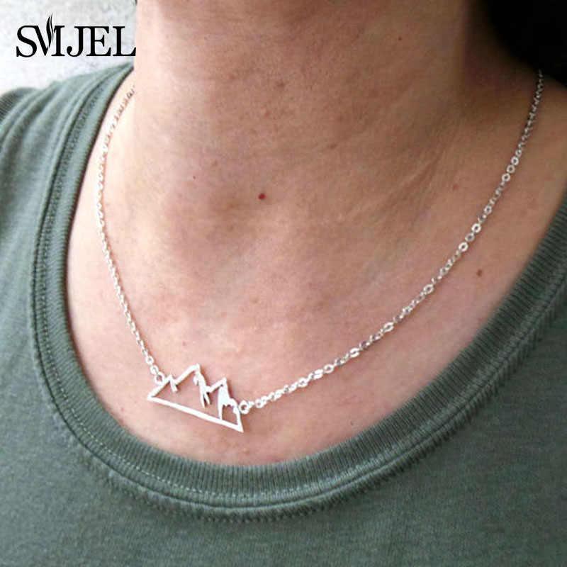 SMJEL Trendy śliczne zwierząt motyl naszyjniki Mountain Charm geometryczne naszyjniki dla kobiet biżuteria collana