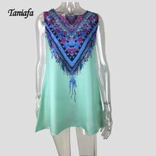 Women dress peacock tail pattern loose vestidos casual o-neck mini