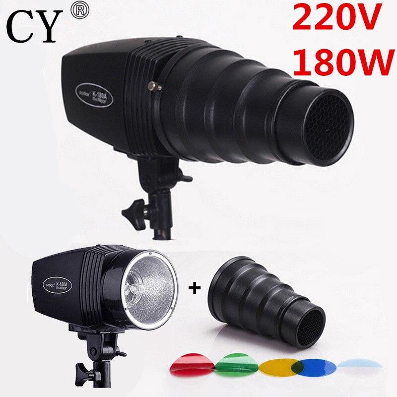 CY Photography Flash Lighting Kits 180W 220V Mini Flash Light+Light Control Snoot&Honeycomb Photo Studio Accessories Godox K-180