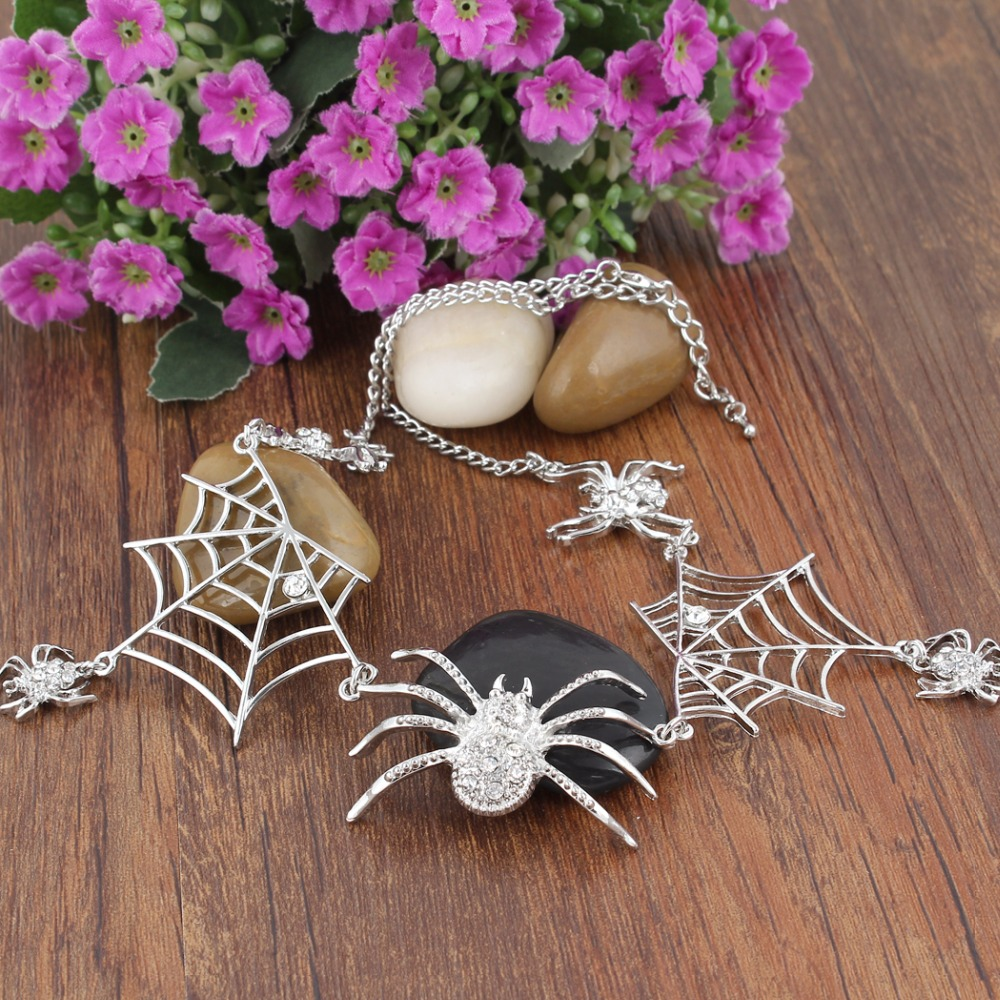 Bella Fashion Spiderweb Spiders Choker Necklace Austrian Crystal Rhinestone Animal Necklace For Women Party Jewelry Halloween bows rhinestone velvet choker necklace