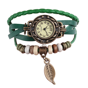 Image 2 - Multicolor High Quality Women Genuine Leather Vintage Quartz Dress Watch Bracelet Wristwatches leaf gift Christmas free shipping