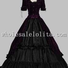 Викторианская готика Платье черного цвета платье воссоздание Театральный Костюм вечерние платья