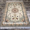 Yilong 4 X6 Persian Style Durable Handmade Green Color Foloral Rug Oriental Wool Hotel Carpet WY2095S4x6