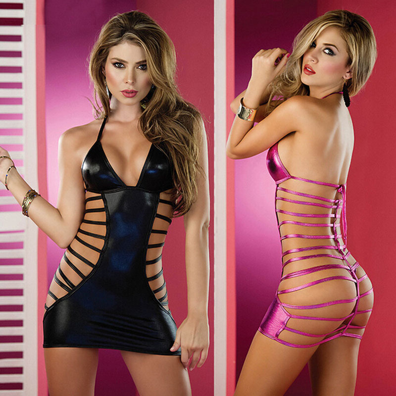 Free Shipping Women Leather Sexy Lingerie Corset Dress -1372