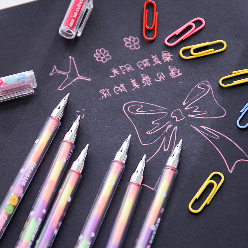 Highlighters writing pen Korean stationery wholesale DIY 6 plus a pastel pen, water chalk, graffiti student marker pens image