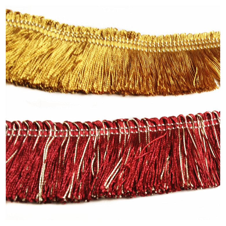 2 Colors Gold Wine Fringe 4 Cm Width Lace Cushion Cover Pillow Cover Throw Accesories Polyester Trimming Sell By 10 Meters/Bale