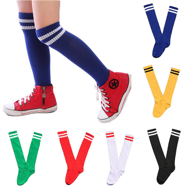 4416bfe15 Kids Knee High Socks Cotton Long Student School Socks Girls Boys Football  Striped 2 Retro Old