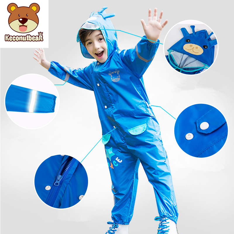 Giraffe Style 3-8 Years Old Kids Boys Raincoat Outdoor Jumpsuits Waterproof Rainwear Baby Boy Girl Raincoat And Rain Pants Suit