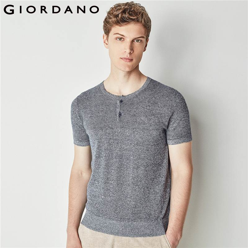 Giordano Men Tee Short Sleeves Henley Knitting T-Shirt Linen Cotton Solid Tops Male T-shirts Poleras Hombre Brand Clothing