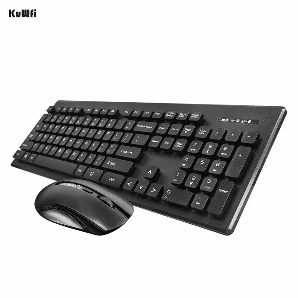 Kuwfi 2.4G Hz Keyboard Nirkabel Ultra Slim Tipis Desain dengan Cover With Mouse Mouse Kit untuk Desktop PC Laptop Komputer keyboard Set