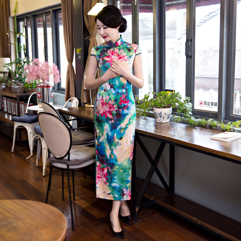 New Women Print Flower <font><b>Chinese</b></font> Style Party <font><b>Dress</b></font> Vintage Mandarin Collar <font><b>Sexy</b></font> Cheongsam Lady Handmade Button Qipao Size M-3XL image